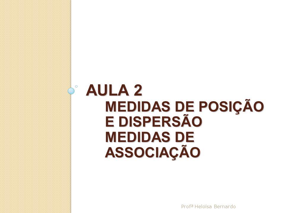 AULA 2 MEDIDAS DE POSIÇÃO E DISPERSÃO MEDIDAS DE ASSOCIAÇÃO