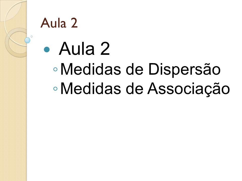 Aula 2 Aula 2 Medidas de Dispersão Medidas de Associação 5