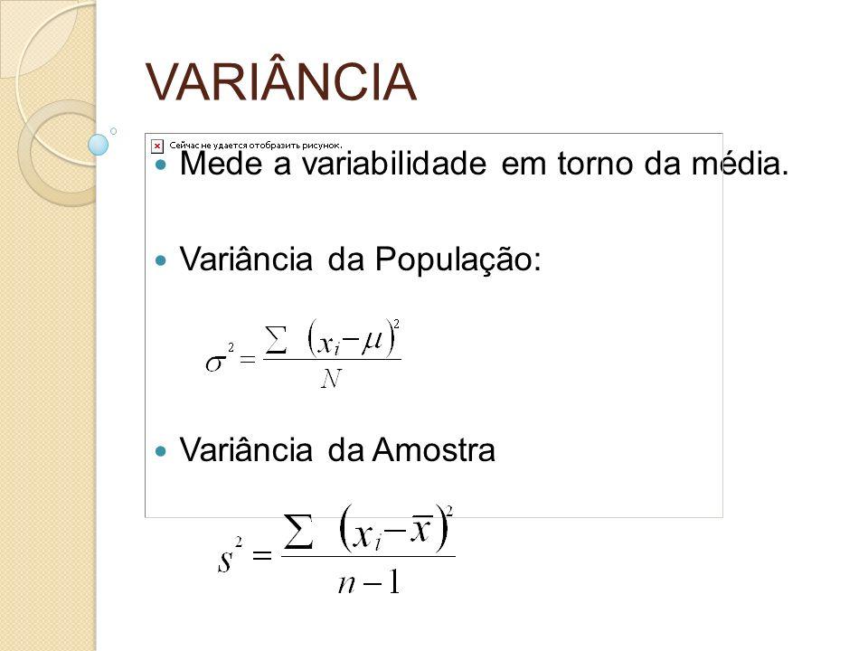 VARIÂNCIA Mede a variabilidade em torno da média.