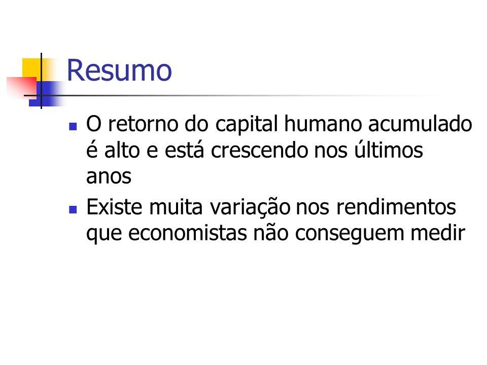 Resumo O retorno do capital humano acumulado é alto e está crescendo nos últimos anos.