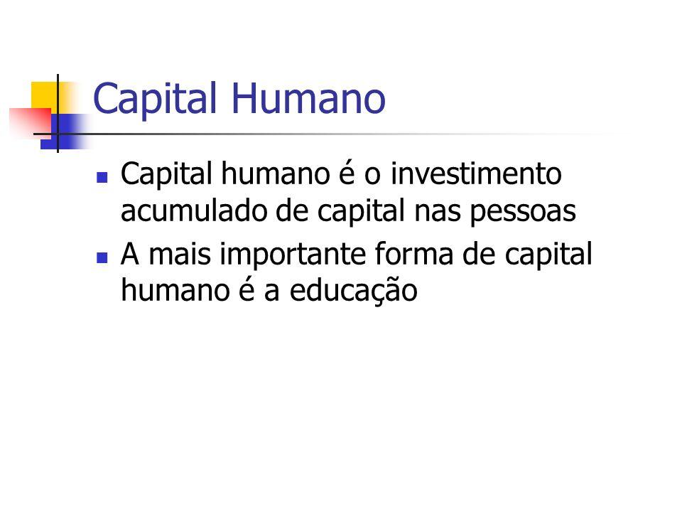 Capital Humano Capital humano é o investimento acumulado de capital nas pessoas.