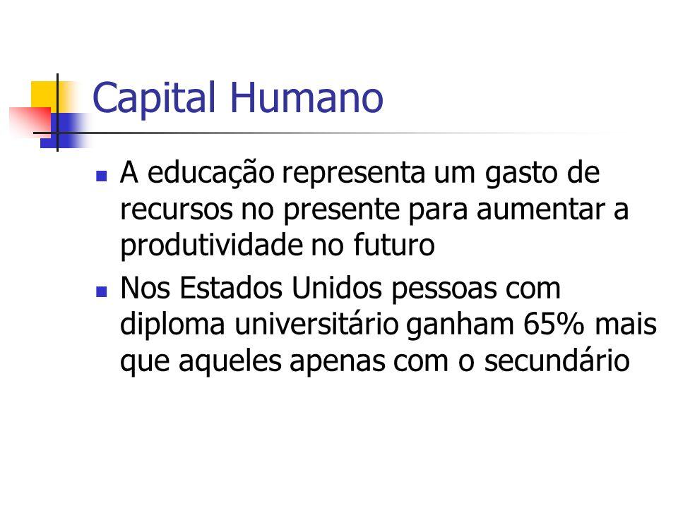 Capital Humano A educação representa um gasto de recursos no presente para aumentar a produtividade no futuro.