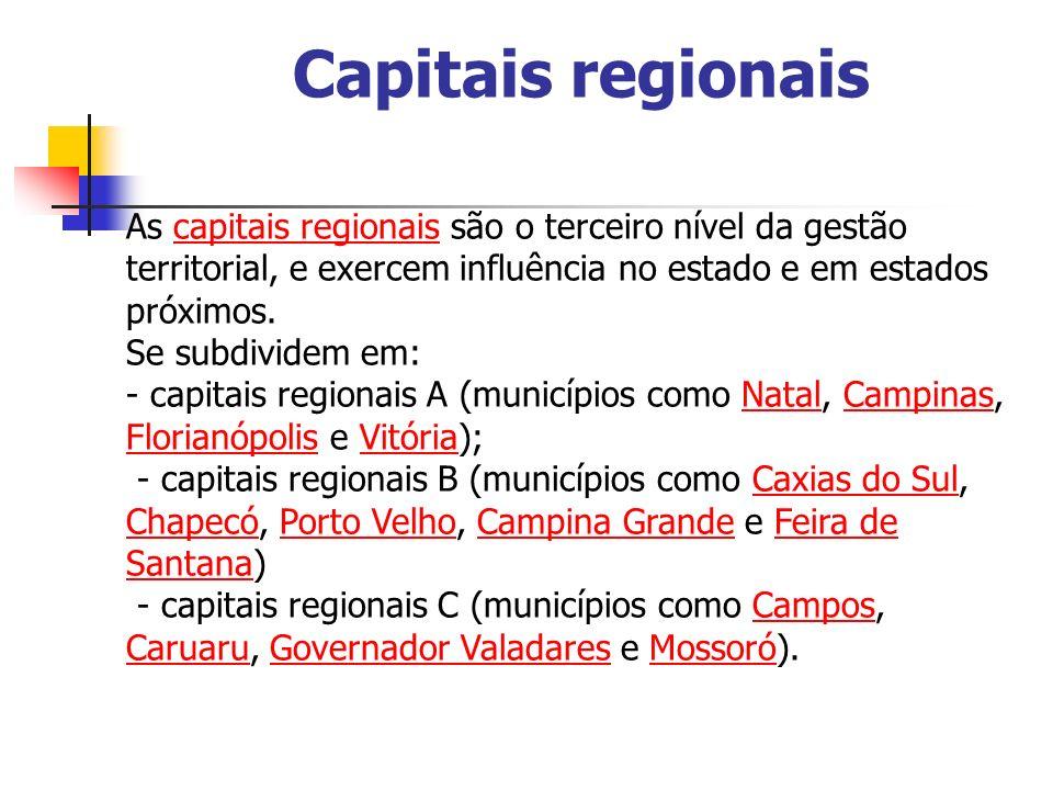 Capitais regionaisAs capitais regionais são o terceiro nível da gestão territorial, e exercem influência no estado e em estados próximos.