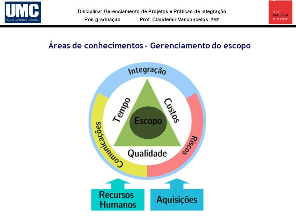 Áreas de conhecimentos - Gerenciamento do escopo