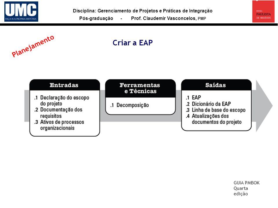 Criar a EAP Planejamento GUIA PMBOK Quarta edição 27