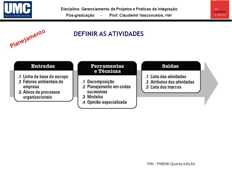 DEFINIR AS ATIVIDADES Planejamento PMI – PMBOK Quarta edição 33
