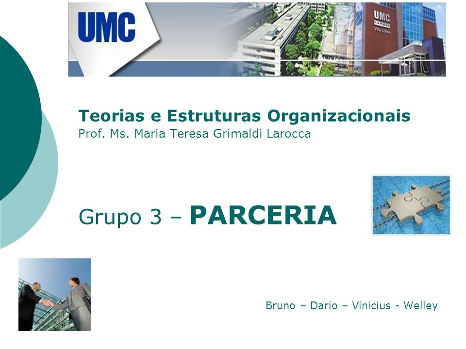 Grupo 3 – PARCERIA Teorias e Estruturas Organizacionais