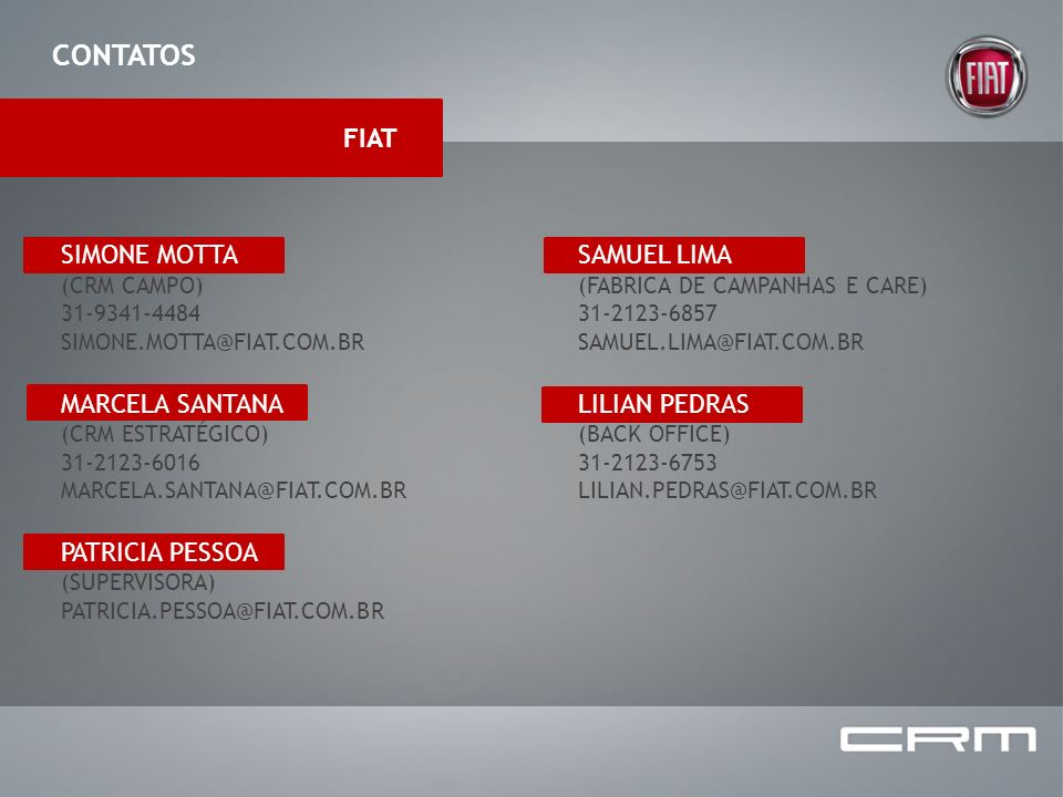 CONTATOS FIAT SIMONE MOTTA MARCELA SANTANA PATRICIA PESSOA SAMUEL LIMA