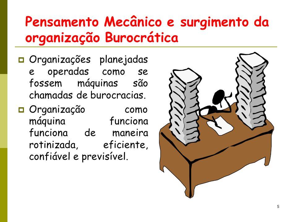 Pensamento Mecânico e surgimento da organização Burocrática