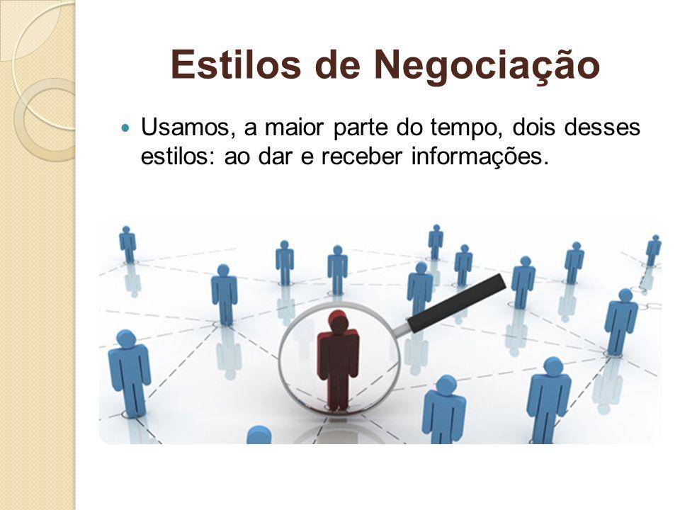 Estilos de NegociaçãoUsamos, a maior parte do tempo, dois desses estilos: ao dar e receber informações.