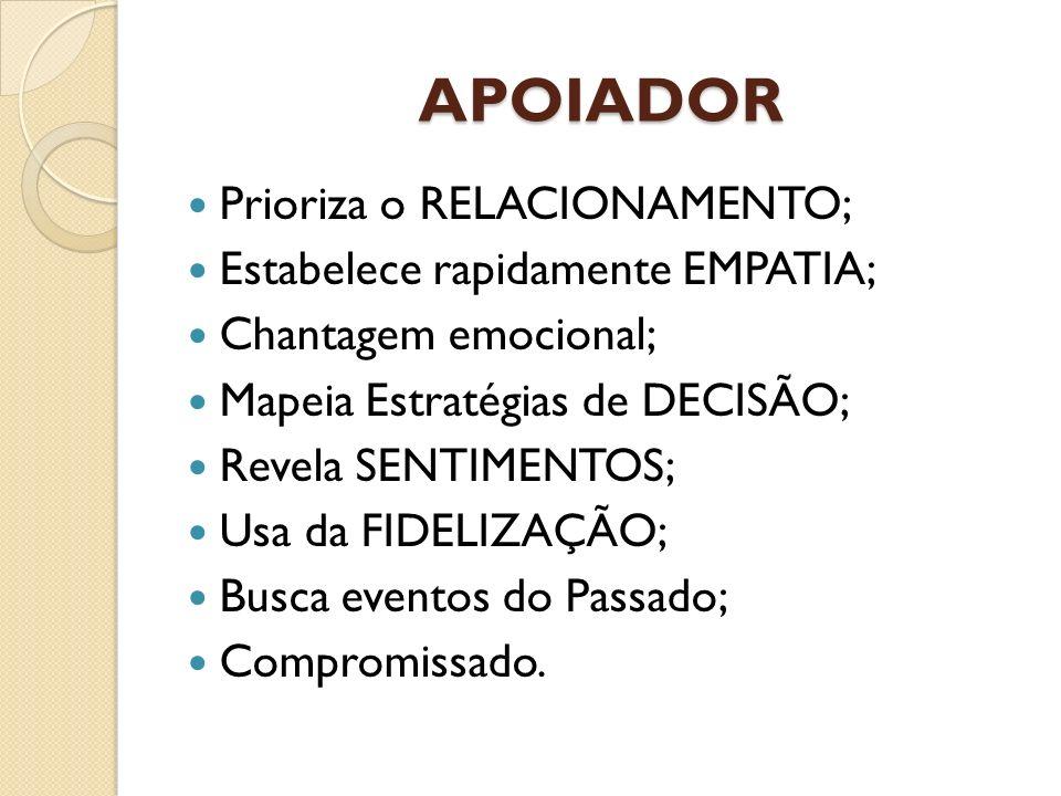 APOIADOR Prioriza o RELACIONAMENTO; Estabelece rapidamente EMPATIA;
