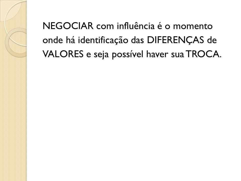NEGOCIAR com influência é o momento onde há identificação das DIFERENÇAS de VALORES e seja possível haver sua TROCA.