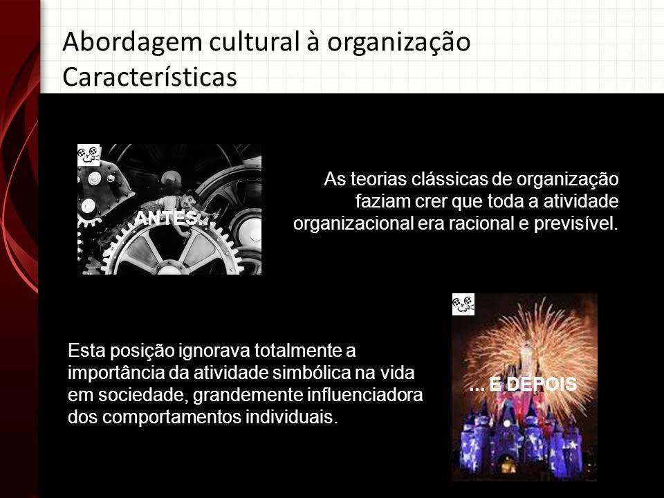 Abordagem cultural à organização Características