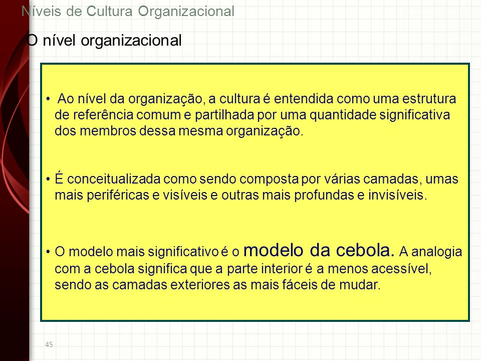 O nível organizacional