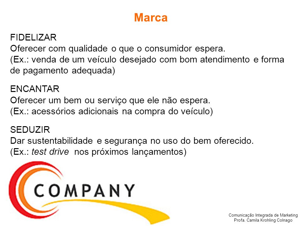 Marca FIDELIZAR Oferecer com qualidade o que o consumidor espera.