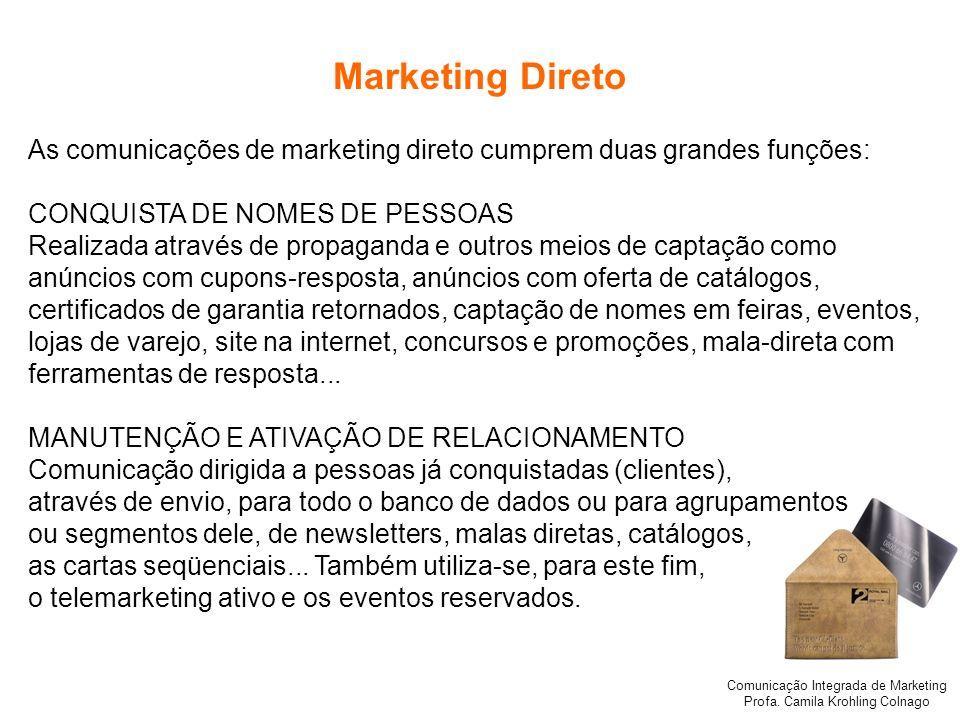 Marketing Direto As comunicações de marketing direto cumprem duas grandes funções: CONQUISTA DE NOMES DE PESSOAS.