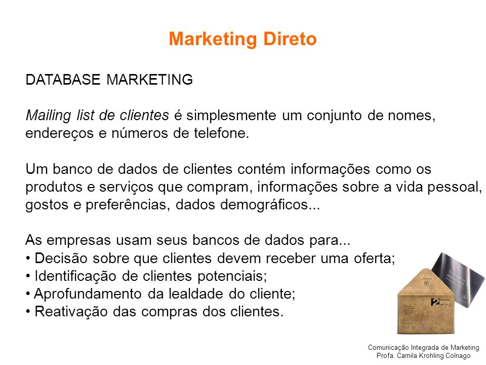 Marketing Direto DATABASE MARKETING