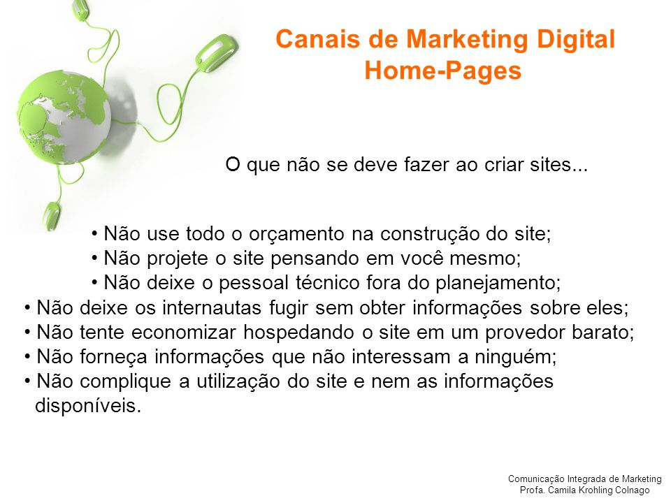 Canais de Marketing Digital Home-Pages