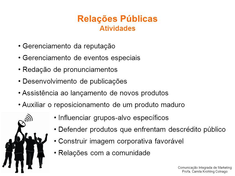 Relações Públicas Atividades • Gerenciamento da reputação