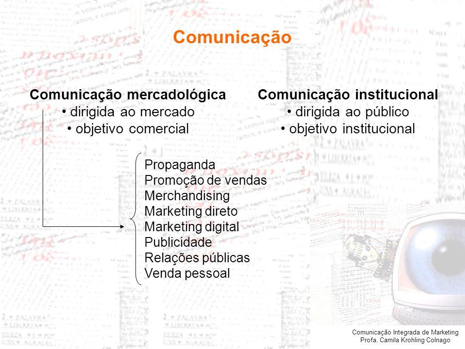 Comunicação mercadológica Comunicação institucional