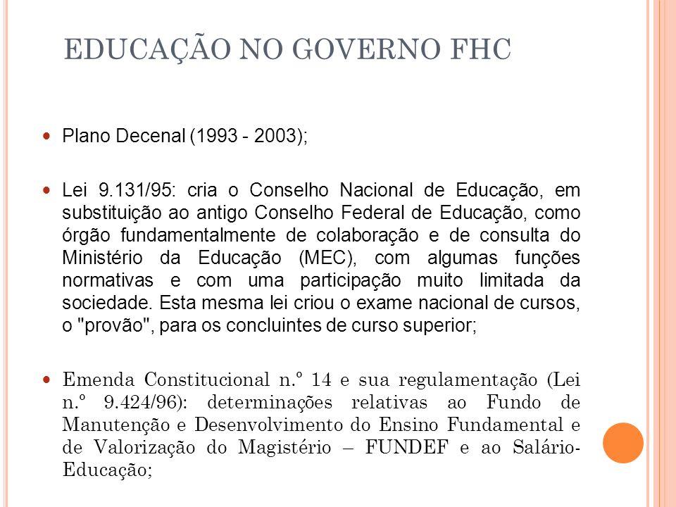 EDUCAÇÃO NO GOVERNO FHC
