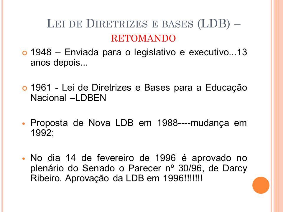 Lei de Diretrizes e bases (LDB) – retomando
