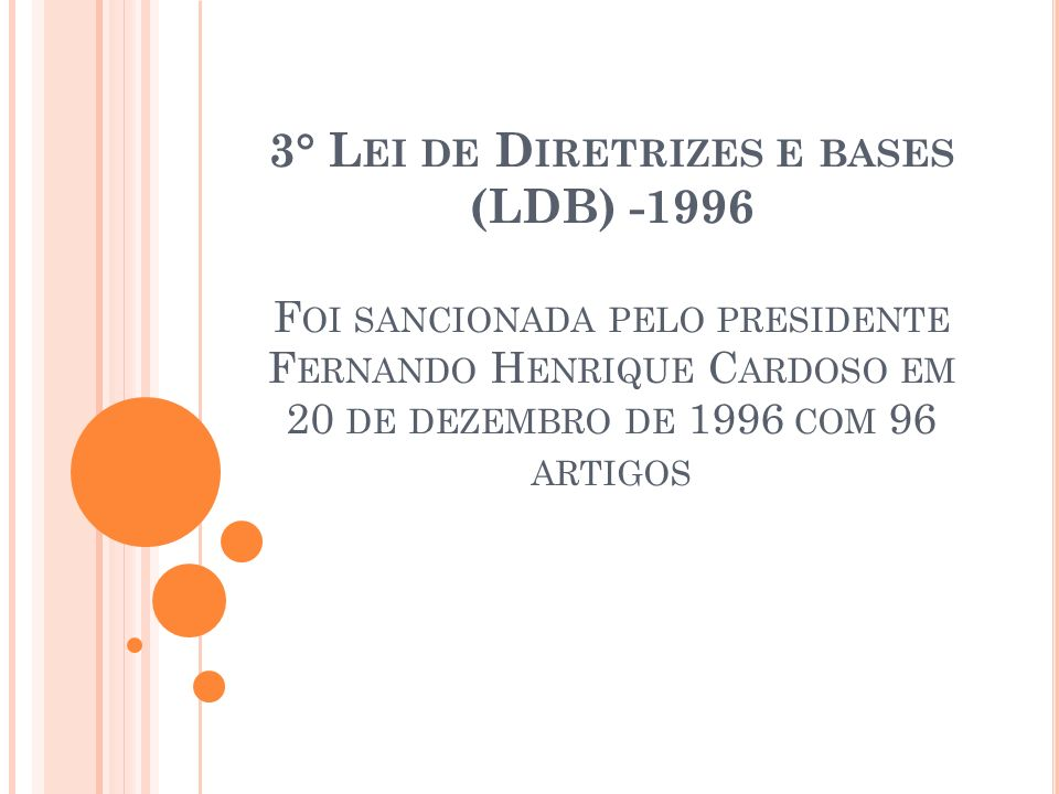 3° Lei de Diretrizes e bases (LDB) -1996 Foi sancionada pelo presidente Fernando Henrique Cardoso em 20 de dezembro de 1996 com 96 artigos