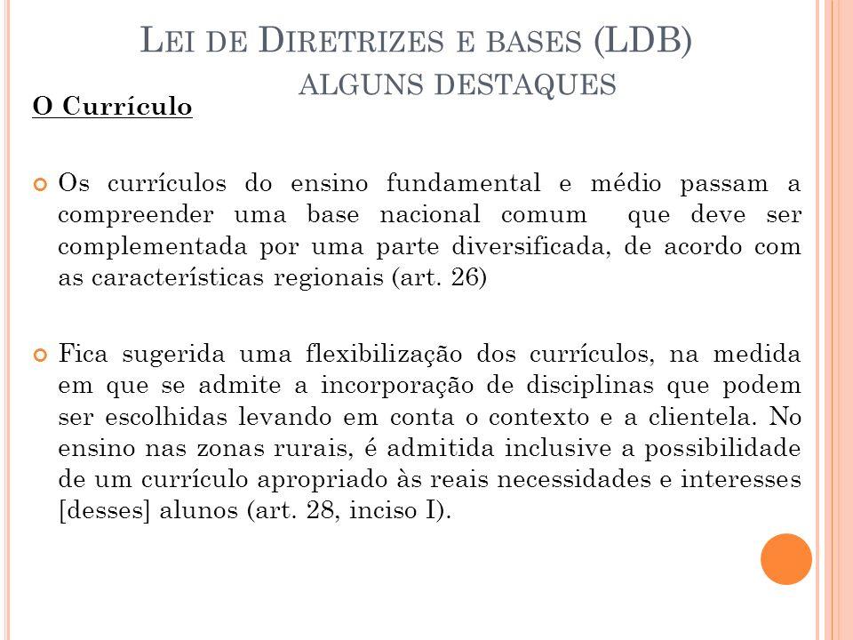 Lei de Diretrizes e bases (LDB) alguns destaques