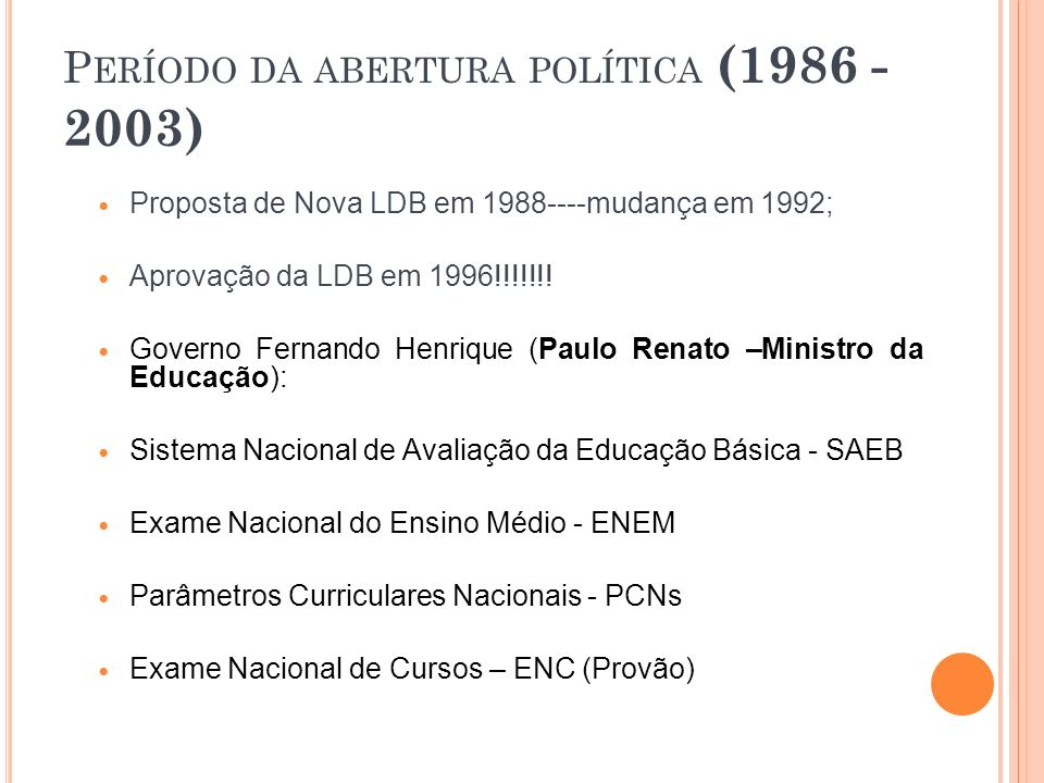 Período da abertura política (1986 - 2003)