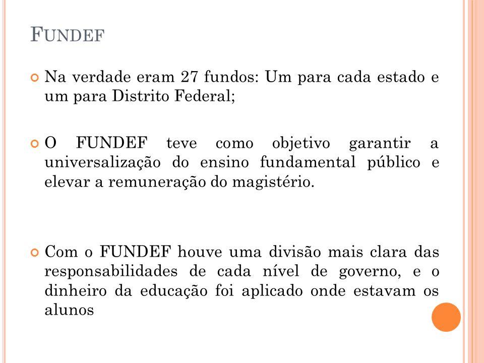 Fundef Na verdade eram 27 fundos: Um para cada estado e um para Distrito Federal;