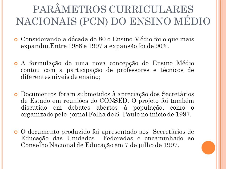 PARÂMETROS CURRICULARES NACIONAIS (PCN) DO ENSINO MÉDIO