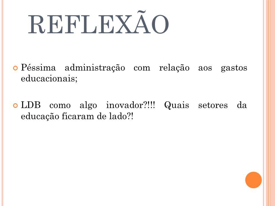 REFLEXÃO Péssima administração com relação aos gastos educacionais;