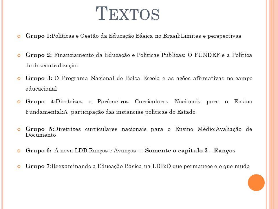 Textos Grupo 1:Políticas e Gestão da Educação Básica no Brasil:Limites e perspectivas.