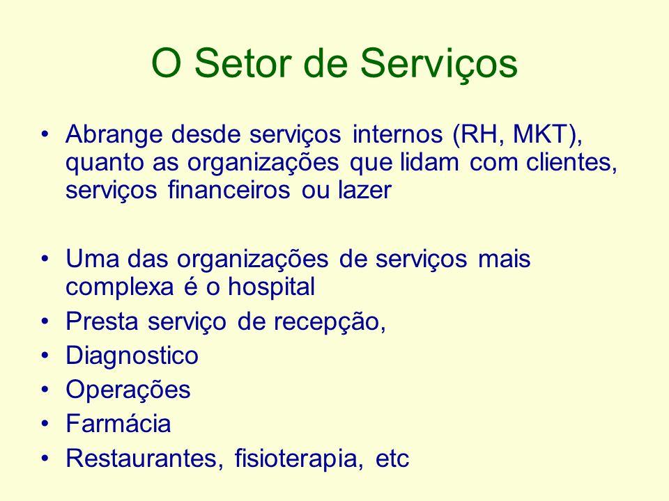 O Setor de Serviços Abrange desde serviços internos (RH, MKT), quanto as organizações que lidam com clientes, serviços financeiros ou lazer.