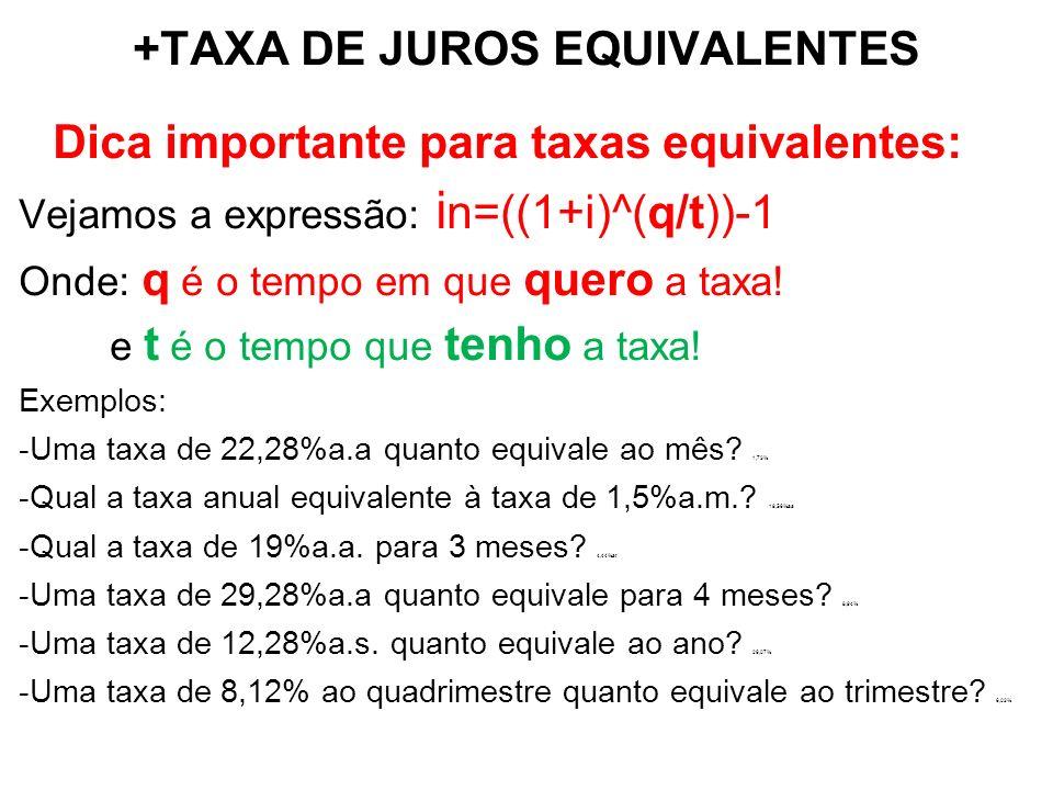 +TAXA DE JUROS EQUIVALENTES