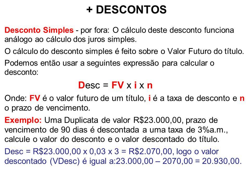 + DESCONTOS Desc = FV x i x n