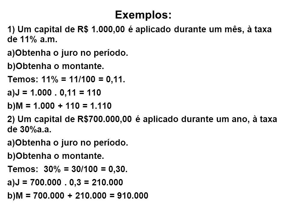 Exemplos:1) Um capital de R$ 1.000,00 é aplicado durante um mês, à taxa de 11% a.m. Obtenha o juro no período.