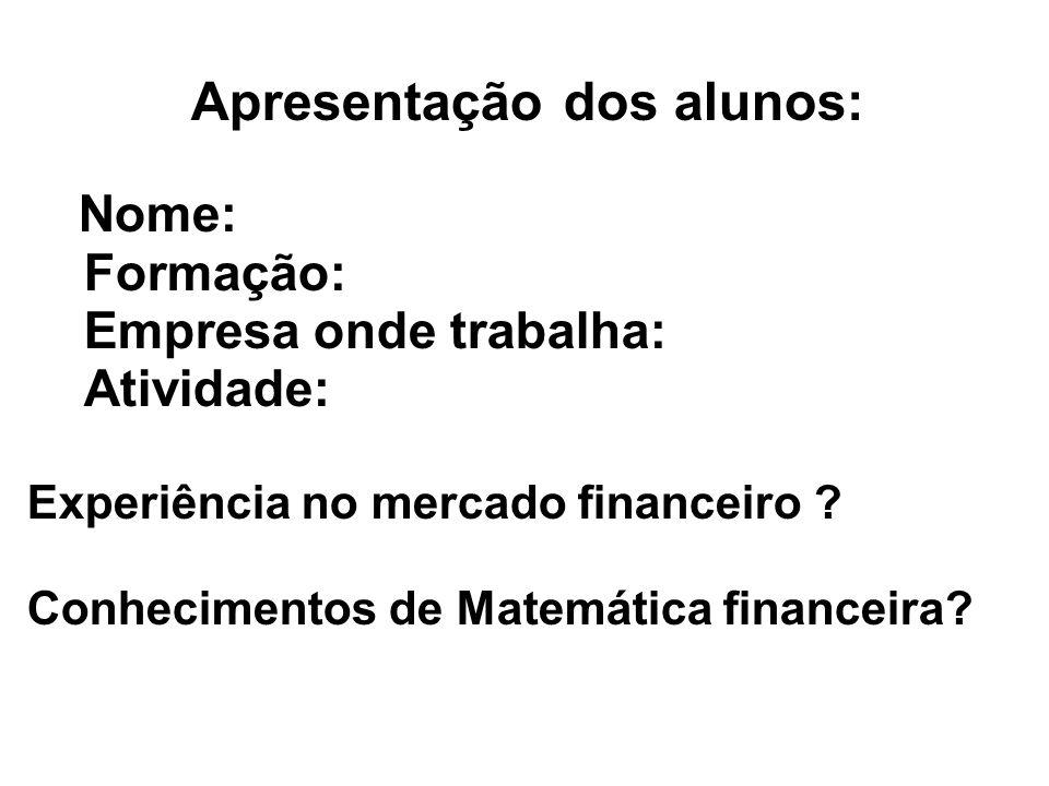 Apresentação dos alunos: Nome: Formação: Empresa onde trabalha: Atividade: Experiência no mercado financeiro .