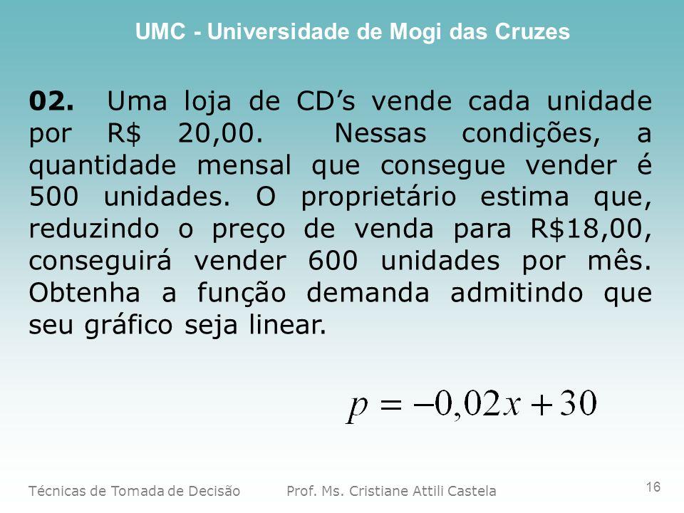 02. Uma loja de CD's vende cada unidade por R$ 20,00