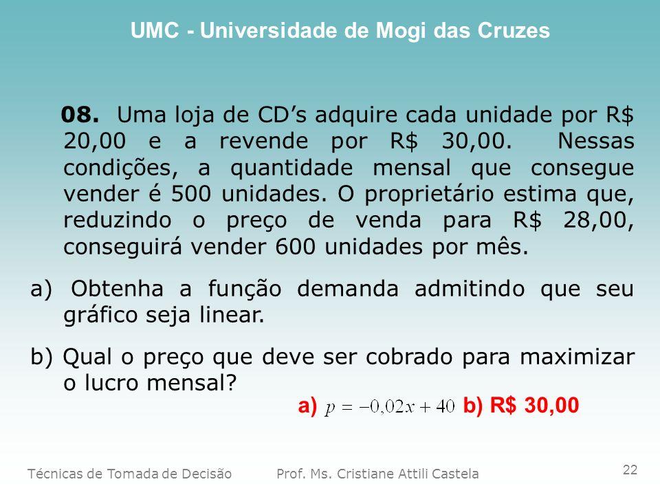 08. Uma loja de CD's adquire cada unidade por R$ 20,00 e a revende por R$ 30,00. Nessas condições, a quantidade mensal que consegue vender é 500 unidades. O proprietário estima que, reduzindo o preço de venda para R$ 28,00, conseguirá vender 600 unidades por mês.