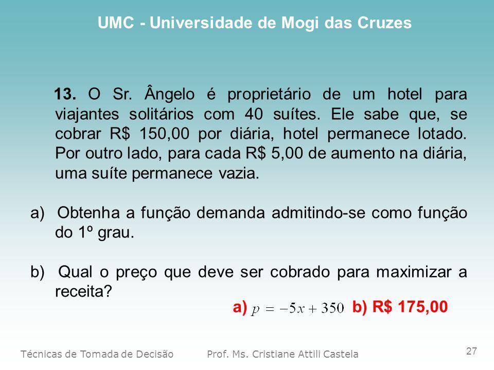 13. O Sr. Ângelo é proprietário de um hotel para viajantes solitários com 40 suítes. Ele sabe que, se cobrar R$ 150,00 por diária, hotel permanece lotado. Por outro lado, para cada R$ 5,00 de aumento na diária, uma suíte permanece vazia.