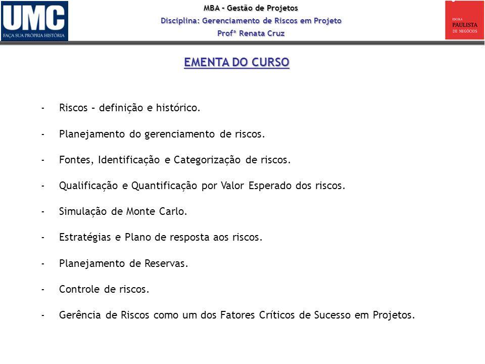 EMENTA DO CURSO Riscos – definição e histórico.