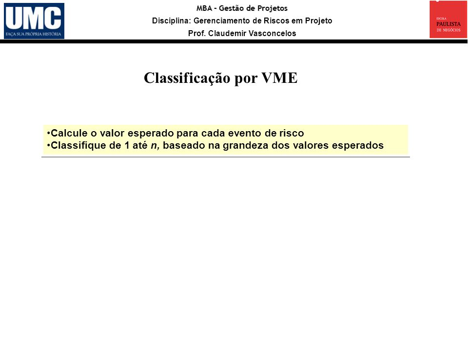 Classificação por VME Calcule o valor esperado para cada evento de risco. Classifique de 1 até n, baseado na grandeza dos valores esperados.