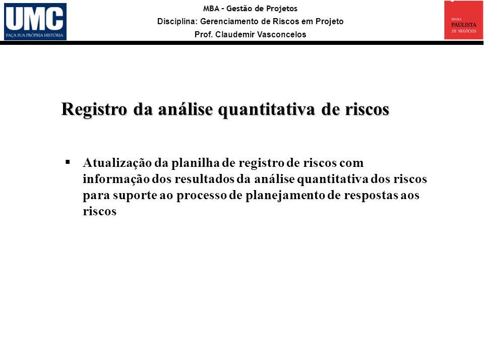 Registro da análise quantitativa de riscos