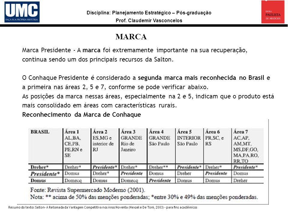 MARCAMarca Presidente - A marca foi extremamente importante na sua recuperação, continua sendo um dos principais recursos da Salton.