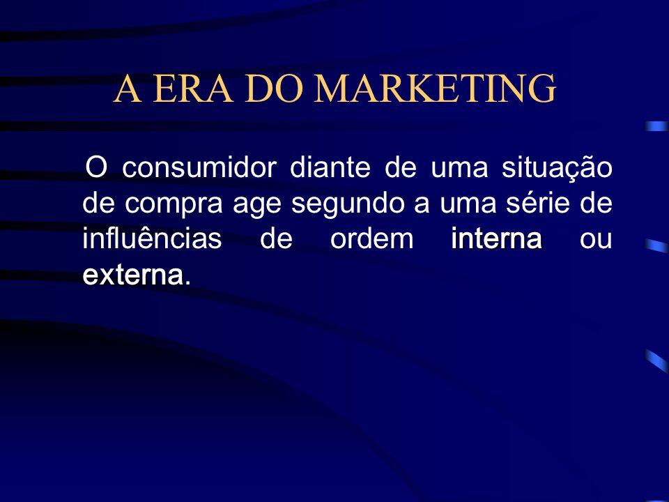 A ERA DO MARKETING O consumidor diante de uma situação de compra age segundo a uma série de influências de ordem interna ou externa.