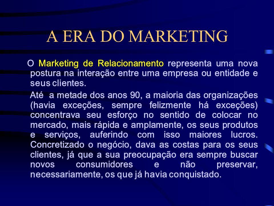 A ERA DO MARKETING O Marketing de Relacionamento representa uma nova postura na interação entre uma empresa ou entidade e seus clientes.