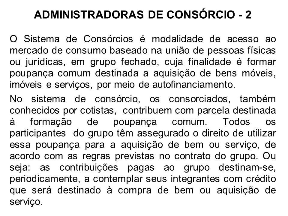 ADMINISTRADORAS DE CONSÓRCIO - 2