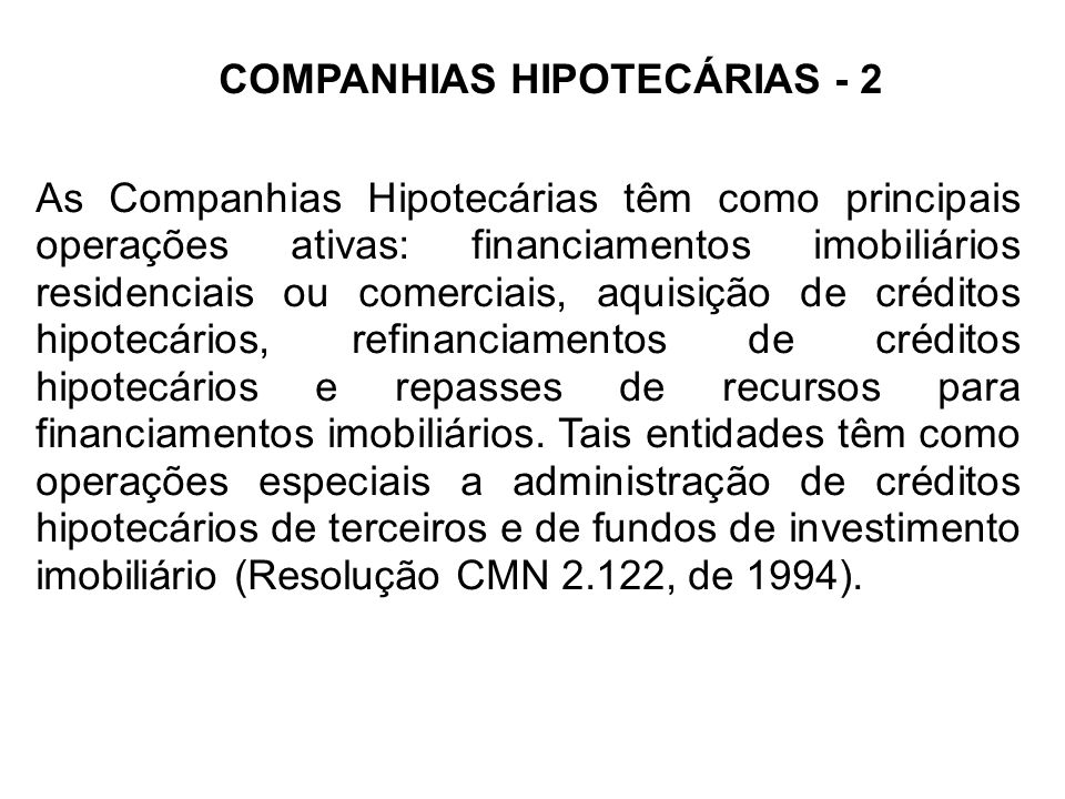 COMPANHIAS HIPOTECÁRIAS - 2
