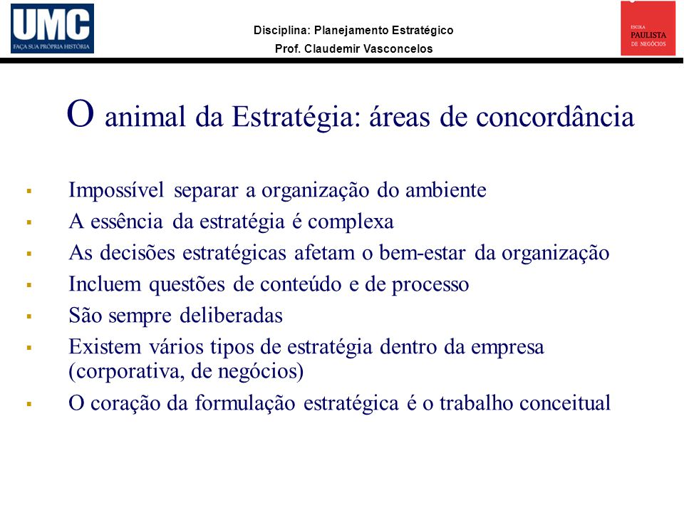 O animal da Estratégia: áreas de concordância